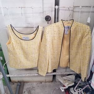 Jessica Howard Yellow 2 pc set Cardigan and Shell
